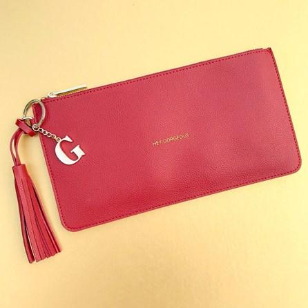 Katie Loxton Personalised 'Hey Gorgeous' Burgundy Tassel Bag