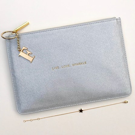 Katie Loxton Personalised 'Live Love Sparkle' Silver Pouch