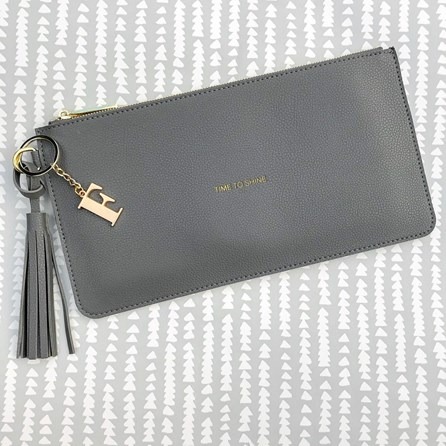 Katie Loxton Personalised 'Time To Shine' Charcoal Tassel Bag