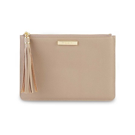 Katie Loxton Personalised Sophia Tassel Pouch In Taupe