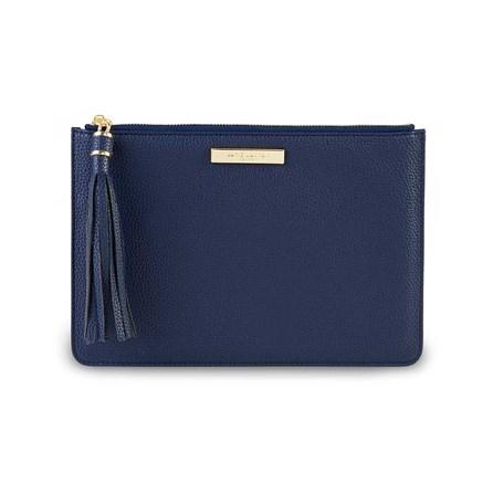 Katie Loxton Personalised Sophia Tassel Pouch In Navy Blue
