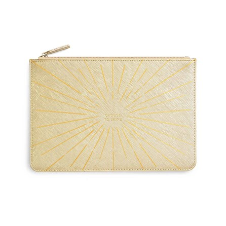 Katie Loxton Personalised Perfect Pouch 'Choose To Shine' In Metallic Gold