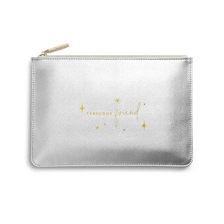 Katie Loxton Personalised Perfect Pouch 'Fabulous Friend' In Metallic Silver