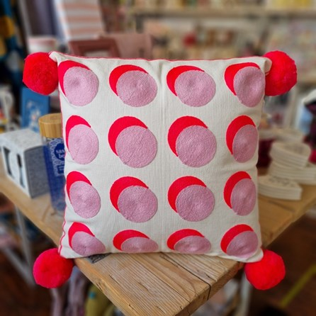 Letterpop Spots Embroidered Pink & Coral Cushion