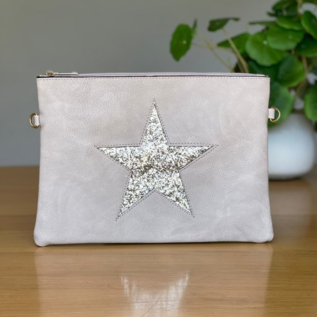 Silver Clutch or Cross Body Bag with Silver Glitter Star