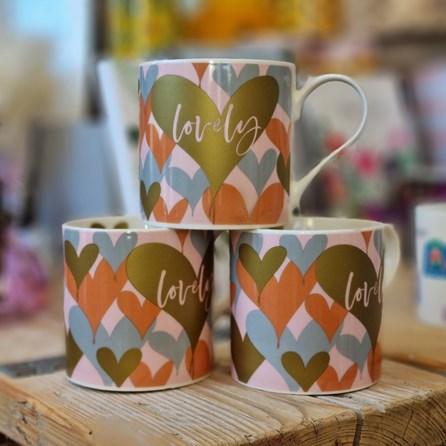 'Lovely' Hearts Bone China Mug