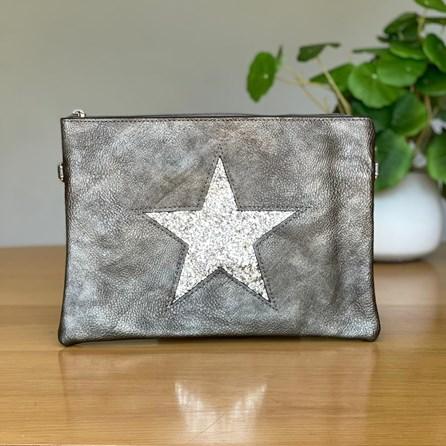 Medium Grey Clutch or Cross Body Bag with Silver Glitter Star