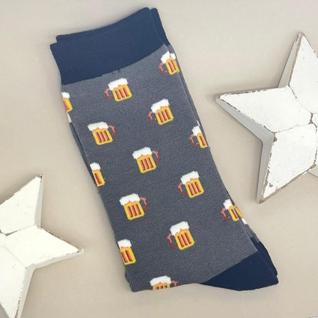 Men's Bamboo Beer Socks In Grey