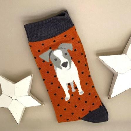 Men's Bamboo Jack Russell Pup Socks In Orange