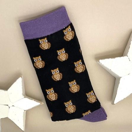 Men's Bamboo Owls Socks In Black