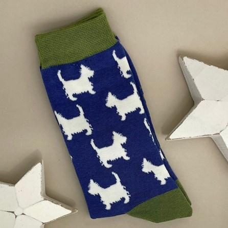 Men's Bamboo Scottie Dog Socks In Denim