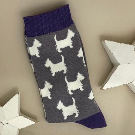 Men's Bamboo Scottie Dog Socks In Grey