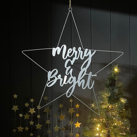 'Merry & Bright' Silver Star Hanging Decoration