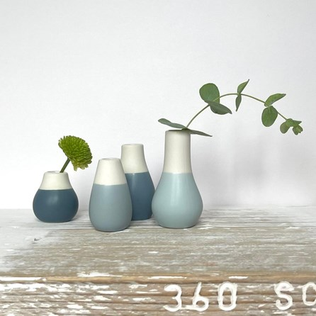 Mini Glazed Vases Set of 4 Blue Tones