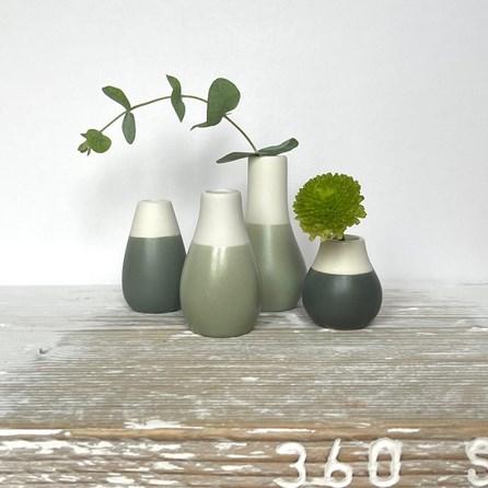 Mini Glazed Vases Set of 4 Green Tones