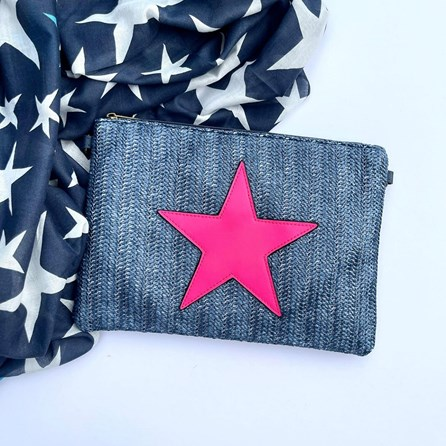 Navy Rattan Clutch Bag with Neon Pink Star