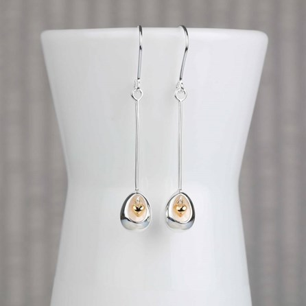 Oval Earrings With Miniature Hanging Heart