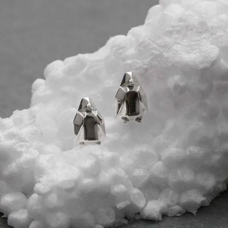 Stunning Silver Origami Penguin Earrings