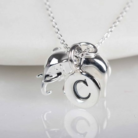 Elephant Necklace With Personalised Letter Charm