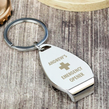 Personalised 'Emergency' Bottle Opener Keyring