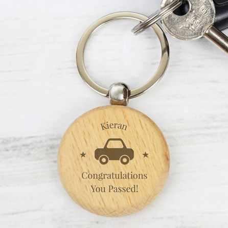 Personalised 'Car Driver' Wooden Keyring