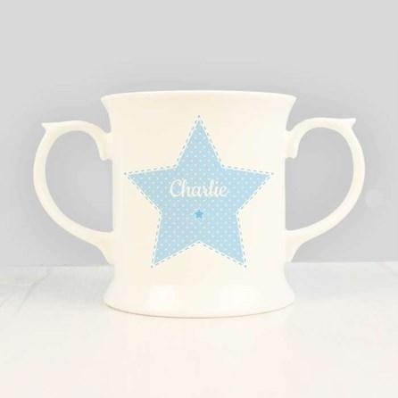 Personalised Children's Blue Christening Loving Mug