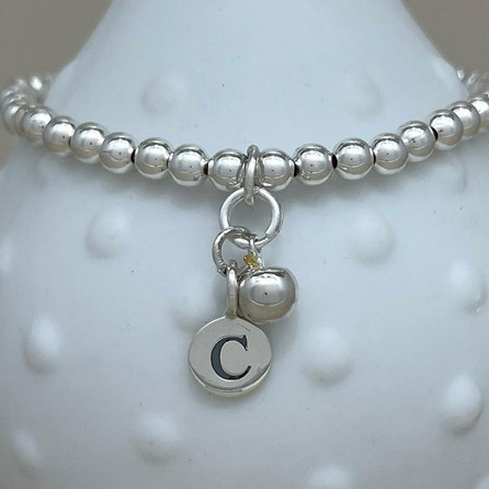 Personalised Apple Charm Bead Bracelet