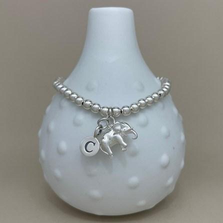 Personalised Elephant Charm Bead Bracelet
