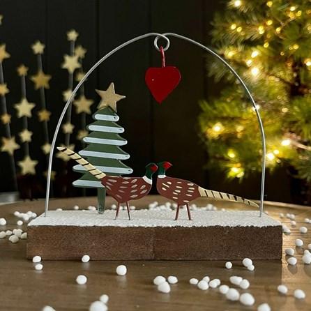 Pheasants Under Love Heart Christmas Decoration