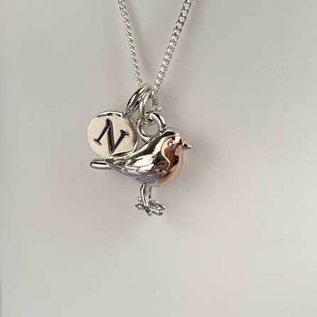 Personalised Robin Necklace In Silver And Rose Gold