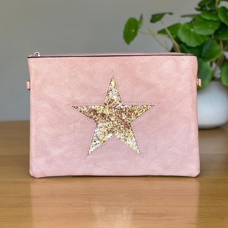 Pink Clutch or Cross Body Bag with Rose Gold Glitter Star