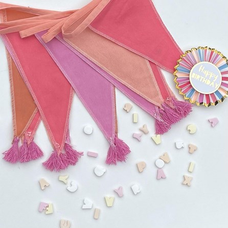 Pink Fabric Bunting with Tassels 3m