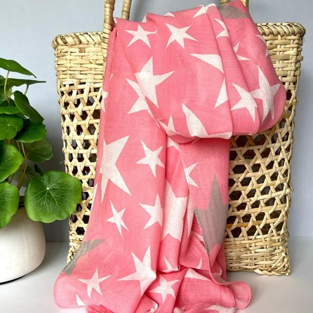 Pink Scarf With Stars
