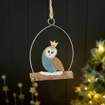 Regal Barn Owl Hanging Decoration