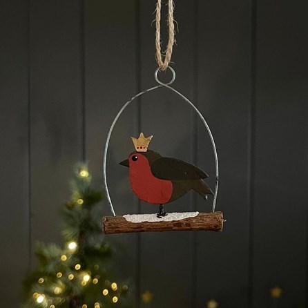 Regal Robin on Log Hanging Decoration