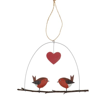 Robin Love on a Perch Hanging Decoration