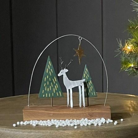 Silver Deer Christmas Decoration