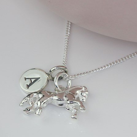 Personalised Solid Silver Horse Necklace