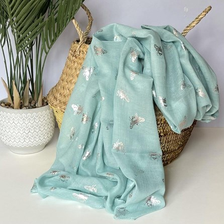 Silver Metallic Bees Scarf in Blue