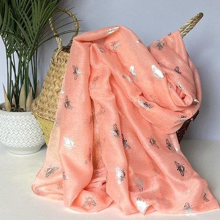 Silver Metallic Bees Scarf in Pink
