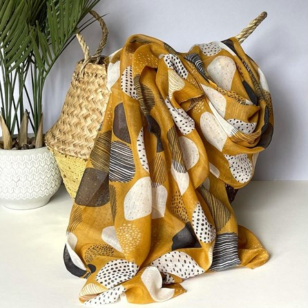 Sketched Spots Scarf in Yellow