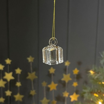 Small Glass Present Hanging Decoration