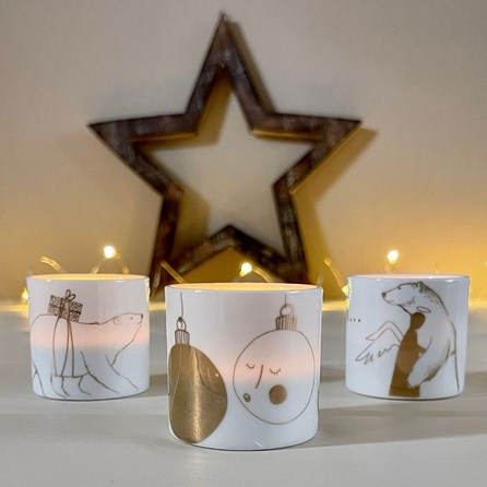 Tealight Holder with 'Baubles In Love' Design