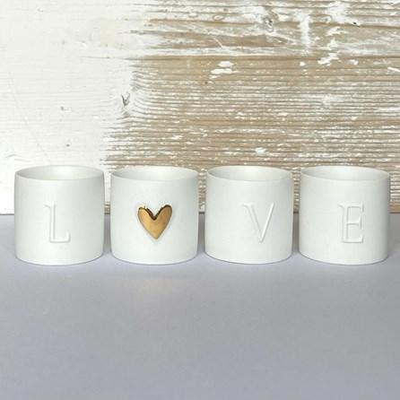 Tealight Holders 'LOVE' Set of 4
