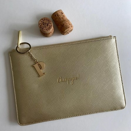 Katie Loxton Personalised 'Champagne!' Sparkly Gold Pouch
