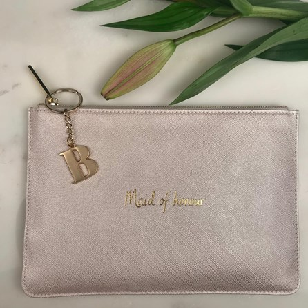 Katie Loxton Personalised 'Maid Of Honour' Pearl White Pouch