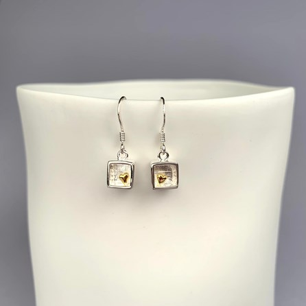 Solid Silver And 18ct Heart Of Gold Earrings