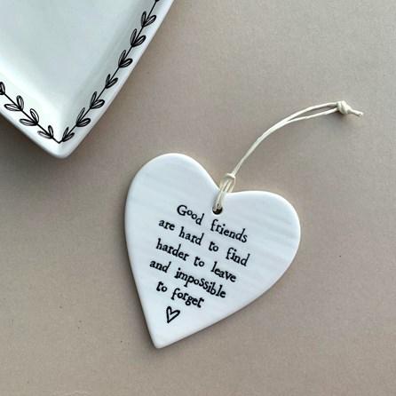 'Good Friends...' Porcelain Hanging Heart