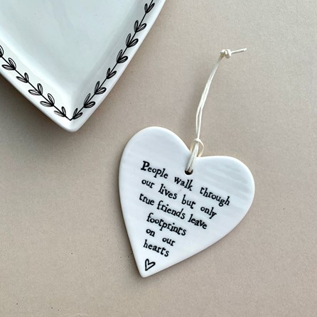 'People Walk Through Our Lives...' Porcelain Hanging Heart