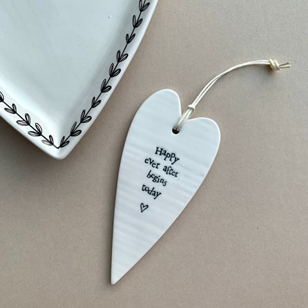 'Happy Ever After...' Porcelain Hanging Heart